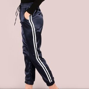 Pants - Navy Blue and White Side Stripe Satin Joggers